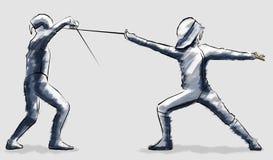 Cercando, cercadores raza, encuentro del combate stock de ilustración