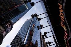 Cercando le costruzioni in New York, twillight Fotografia Stock