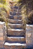 cercano para arriba de una escalera hecha con pasos del hormigón y de las piedras en un jardín Foto vertical imagen de archivo