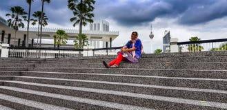 Cercano turístico, Islam Wilayah Persekutuan, panorama del Agama de Jabatan de la mezquita del kualalmpur, Malasia fotografía de archivo libre de regalías
