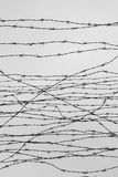 cercar Cerca com arame farpado deixado cadeia Espinhos bloco Um prisioneiro Campo de concentração do holocausto prisioneiros Foto de Stock