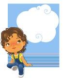 Cercare di seduta della bambina sveglia Cornice di testo Fotografia Stock Libera da Diritti