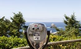 Cercatore di vista sulla costa dell'Oregon Fotografie Stock Libere da Diritti