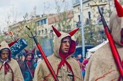 cercavila del festa专业写作的s vilafranca 免版税库存图片