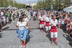 Cercavila performance within Vilafranca del Penedes Festa Major Royalty Free Stock Image