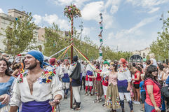 Cercavila performance within Vilafranca del Penedes Festa Major Royalty Free Stock Photos