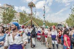 Cercavila performance within Vilafranca del Penedes Festa Major Royalty Free Stock Photos