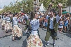 Cercavila performance within Vilafranca Festa Majo Stock Photos