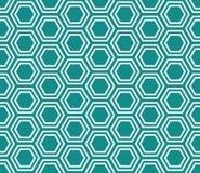 Cerceta e fundo branco da repetição do teste padrão das telhas do hexágono imagens de stock