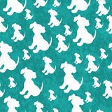 Cerceta e fundo branco da repetição do teste padrão da telha do cão de cachorrinho ilustração stock
