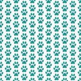 Cerceta e fundo branco de Paw Prints Tile Pattern Repeat do cão ilustração do vetor