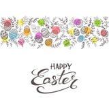 Cerchi colorati con le uova e l'iscrizione della Pasqua con lettere felice Immagini Stock Libere da Diritti