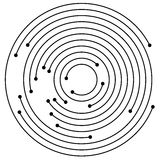 Cerchi concentrici casuali con i punti Circolare, ele di progettazione di spirale illustrazione vettoriale