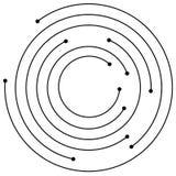 Cerchi concentrici casuali con i punti Circolare, ele di progettazione di spirale Immagini Stock