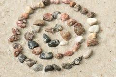 Cerchi concentrici del ciottolo sul fuoco selettivo della sabbia Immagine Stock
