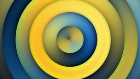 Cerchi concentrici gialli blu di ciclaggio di animazione del fondo stock footage
