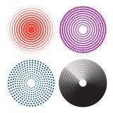 Cerchi concentrici, linee radiali modello Cerchio di dolore illustrazione vettoriale