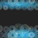 Cerchi d'ardore futuristici astratti su fondo blu scuro Squ Immagini Stock Libere da Diritti