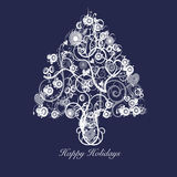 Cerchi dei cuori di turbinii dell'estratto dell'albero di Natale Fotografie Stock