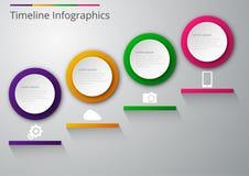Cerchi della carta di infographics dell'illustrazione di vettore con le ombre Fotografia Stock