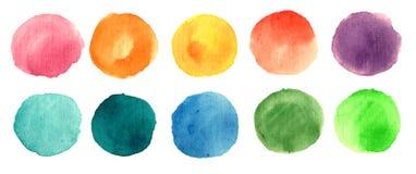 Cerchi della pittura dell'acquerello Immagine Stock Libera da Diritti