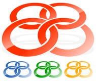 Cerchi di collegamento, icona astratta degli anelli Concetto CI del collegamento royalty illustrazione gratis