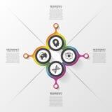 Cerchi di FourAbstract Opzione quattro Modello di disegno di Infographics Illustrazione di vettore Fotografie Stock Libere da Diritti