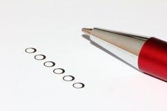 Cerchi di selezione con la penna Fotografia Stock