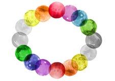 Cerchi di sovrapposizione astratti, cerchi dell'acquerello dell'arcobaleno, struttura ovale decorativa Fotografia Stock