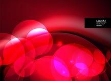 Cerchi di vetro d'ardore brillanti, modello futuristico moderno del fondo Immagini Stock