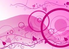 Cerchi e floreale sul colore rosa Immagine Stock