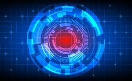 Cerchi e griglia astratti di tecnologia sul fondo blu scuro di colore Fotografie Stock Libere da Diritti