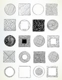Cerchi e quadrati scarabocchiati Fotografia Stock Libera da Diritti