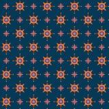 Cerchi e stelle decorativi sul fondo dei blu navy Fotografia Stock