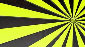 Cerchi giallo-neri a strisce giranti animato 3d rendono illustrazione di stock