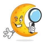 Cerchi la lente d'ingrandimento della tenuta della mascotte della luna, carattere della luna, Immagine Stock