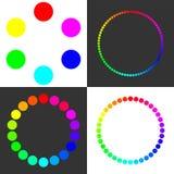 Cerchi multicolori con la transizione regolare dei colori Interruttore di progettazione Fotografie Stock Libere da Diritti