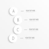 Cerchi numerati infographic su fondo leggero per la vostra progettazione ed il vostro testo Illustrazione di vettore Fotografia Stock