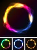 Cerchi o anello al neon astratti della galassia Immagini Stock