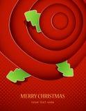 Cerchi rossi con i distintivi dell'albero di Natale Immagini Stock Libere da Diritti