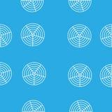 Cerchi rotondi bianchi nella griglia su un fondo blu illustrazione di stock