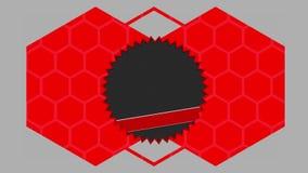 Cerchi seghettati ed esagoni rossi che si muovono sul fondo grigio illustrazione vettoriale