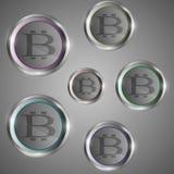 Cerchi trasparenti del bitcoin Immagine Stock