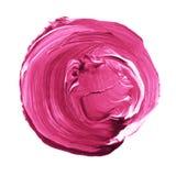 Cerchio acrilico isolato su fondo bianco Rosa, forma rotonda rosso-chiaro dell'acquerello per testo Elemento per progettazione di Fotografia Stock Libera da Diritti