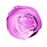 Cerchio acrilico isolato su fondo bianco Rosa, forma rotonda rosso-chiaro dell'acquerello per testo Elemento per progettazione di Fotografia Stock