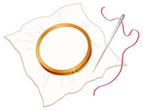 Cerchio, ago & filetto di ricamo Fotografia Stock Libera da Diritti