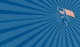 Cerchio americano della bandiera di Waving U.S.A. del soldato del patriota del biglietto da visita retro Fotografia Stock Libera da Diritti