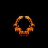 Cerchio ardente delle fiamme su fondo nero Fotografia Stock Libera da Diritti