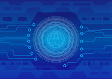 Cerchio astratto del fondo e codice binario di processo centrale di tecnologia con il cervello digitale Immagine Stock
