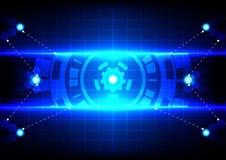 Cerchio astratto e tecnologia blu-chiaro di effetto Immagini Stock